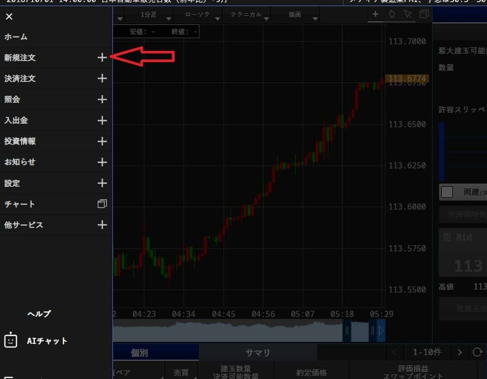 FXでユーロ円売り注文 新規注文を選択