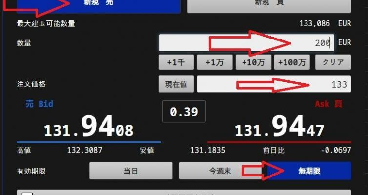 ユーロ円売り注文方法6