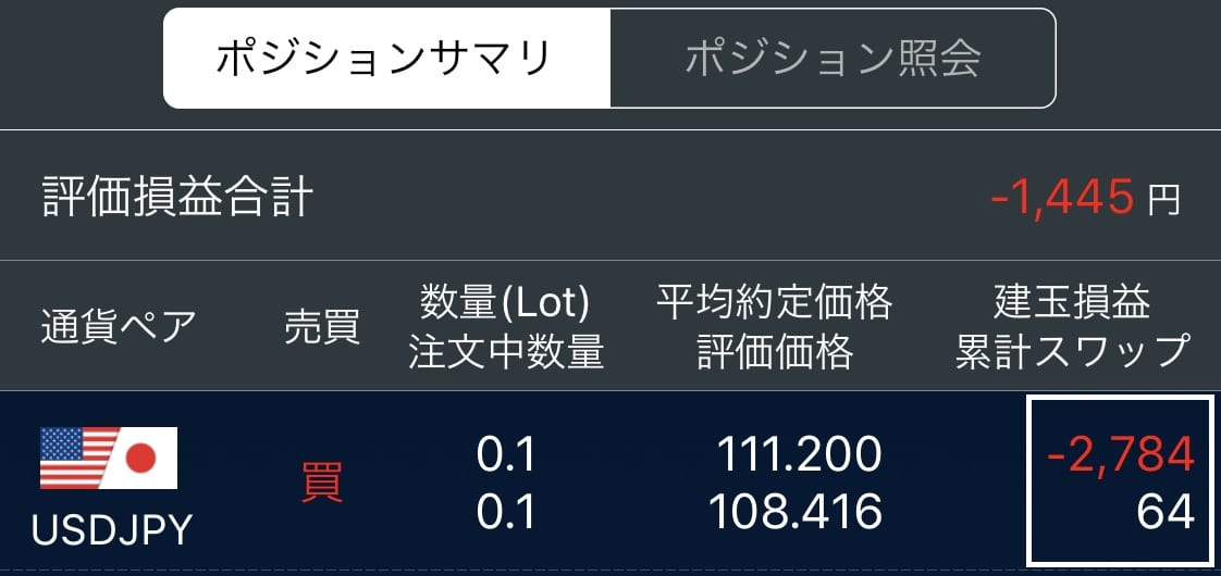ドル円買い残高照会