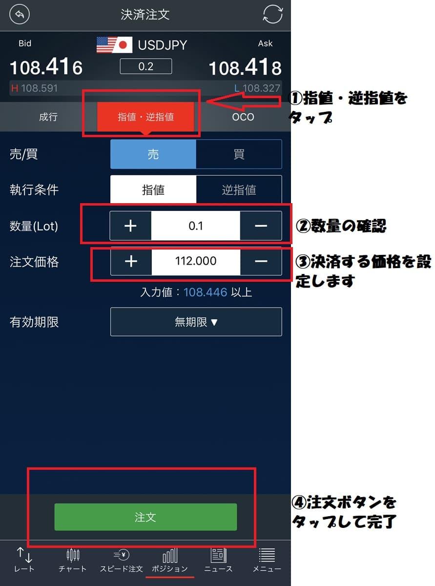 ドル円FX決済注文