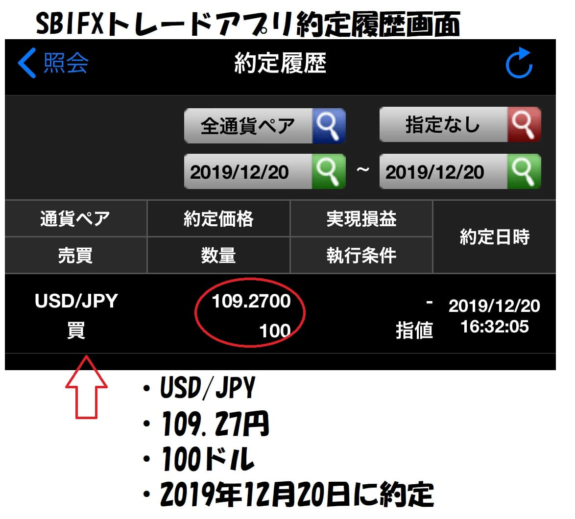 SBIFXトレードアプリ約定履歴