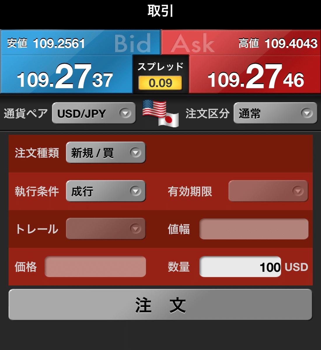 ドル円注文画面