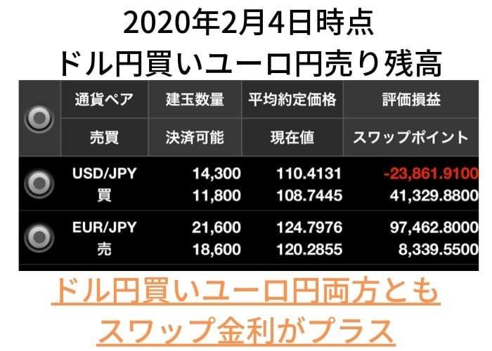 ドル円買いユーロ円売り両建て残高照会2020年2月