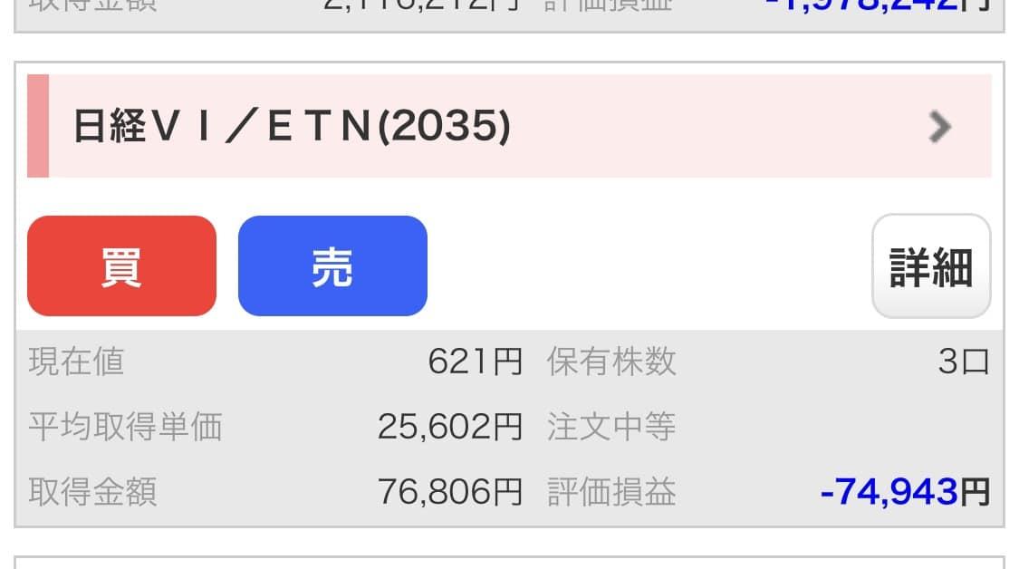 2019年11月11日時点:日経平均VI先物指数 ETN(2035)残高照会
