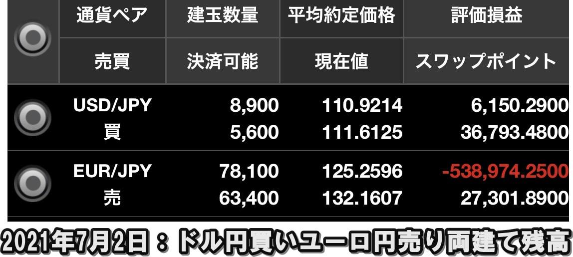ドル円買いユーロ円売り両建て残高照会2021年7月2日