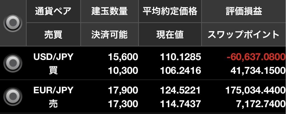 ドル円買いユーロ円売り両建て損益状況:ハイリターン投資ROCK