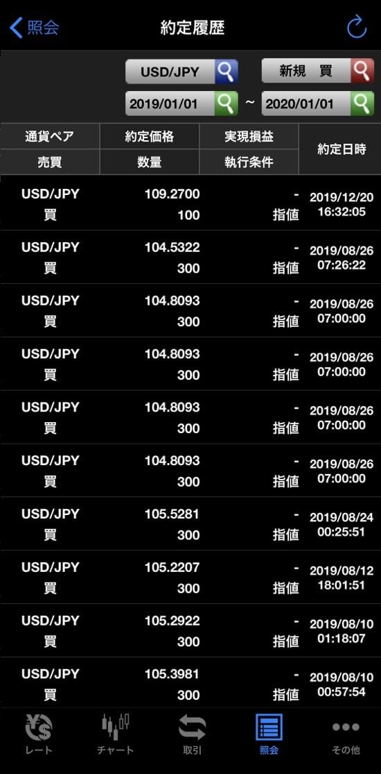 ドル円買い約定履歴2019年9月