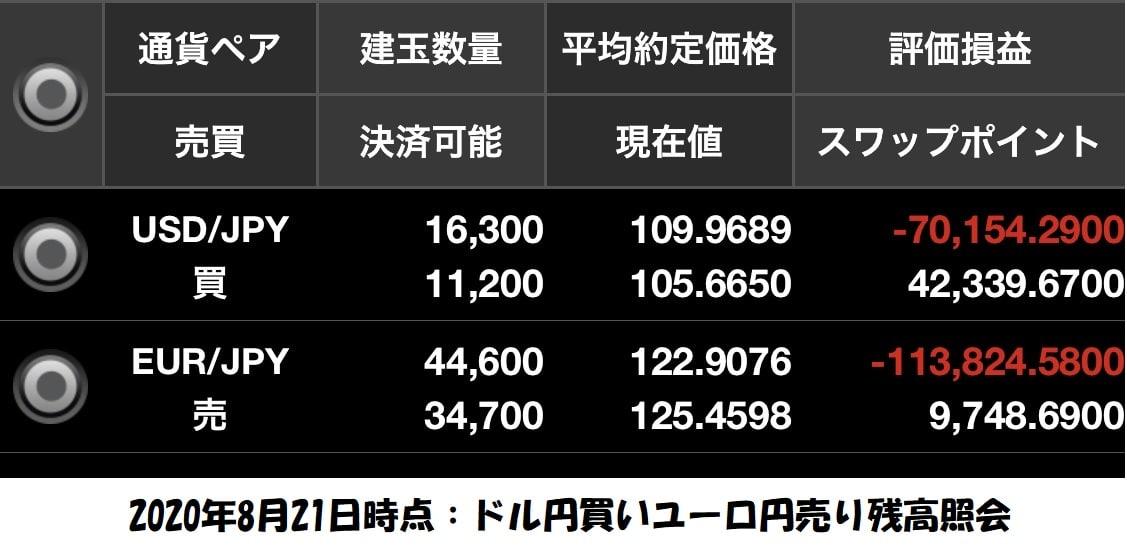 ドル円買いユーロ円売り残高照会