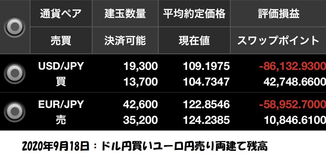 ドル円買いユーロ円売り両建て残高
