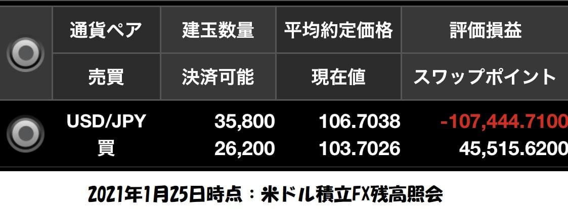 2021年1月米ドル積立FX残高照会
