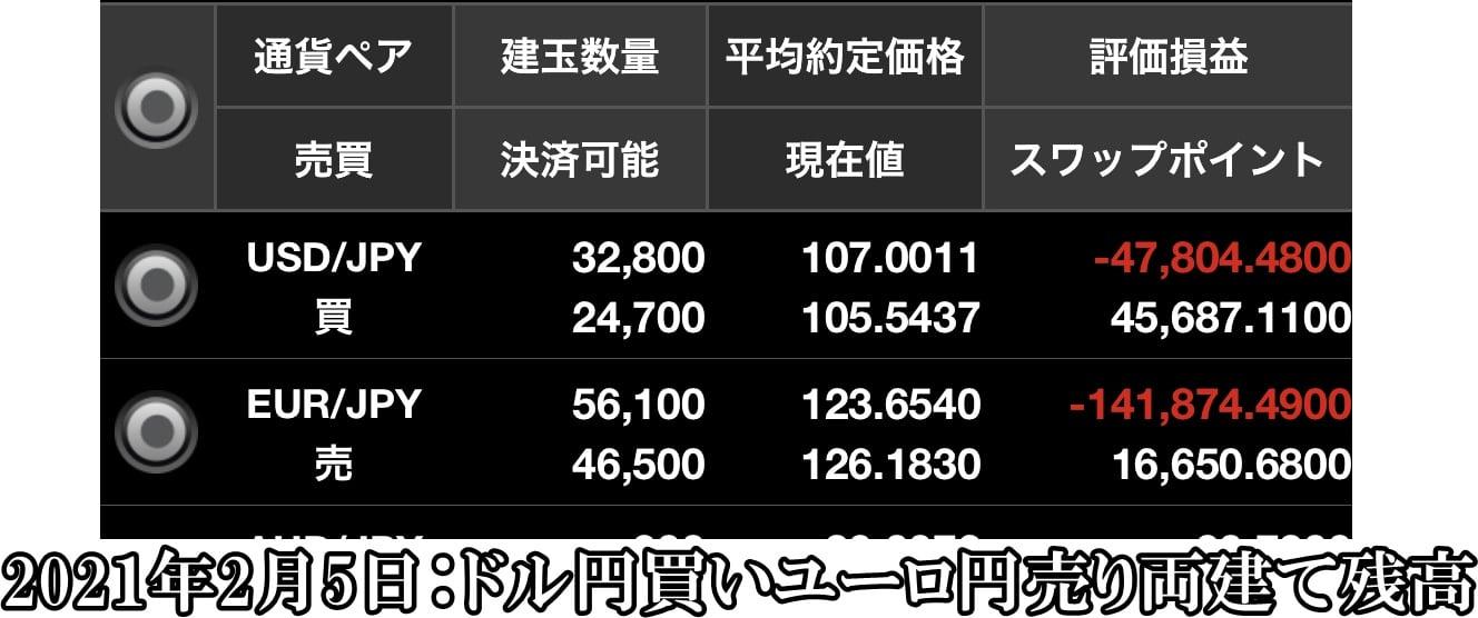 ドル円買いユーロ円売り両建て残高2021年2月5日