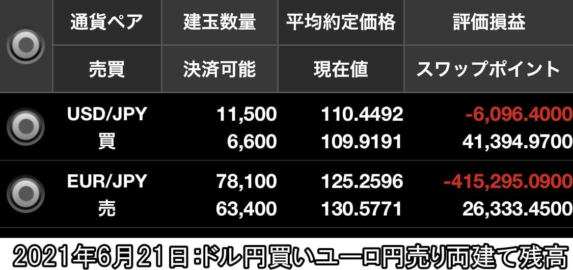 ドル円買いユーロ円売り両建て残高6月21日